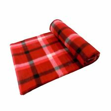 RED LUXURIOUS SOFT TARTAN HIGHLAND CHECK FLEECE THROW BLANKET 127 X 152CM