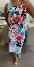 Lipsy Floral Midi Jersey Stretchy Dress Size 16 New Without Tags