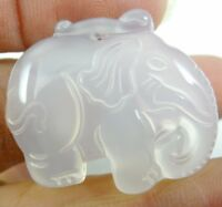 1PC  Natural Marine chalcedony carved Elephant Pendant necklace jewelry Making