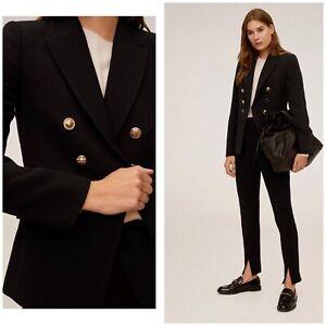 Mango Black Double Breasted Blazer Jacket Size Uk 12 BNWT