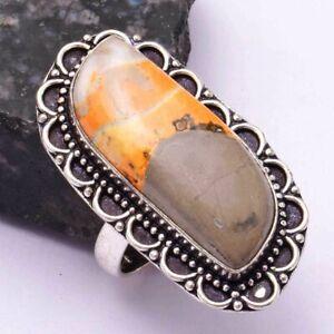 Bumble Bee Jasper Ethnic Handmade Ring Jewelry US Size-8.5 AR 42232
