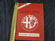LISTINO PREZZI ALFA ROMEO RICAMBI ORIGINALI 1 MAGGIO 1991 OLD ITALY