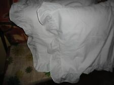 JC PENNEY PURE WHITE RUFFLED (PAIR) STANDARD PILLOW SHAMS 20 X 26 COUNTRY