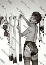 Vintage Pin-up Poster Print of Lady Pegging washing on the line in Panties#1 B&W