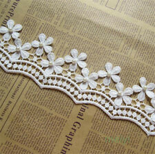 1 yd Vintage Flower Pearl Lace Edge Trim Wedding Ribbon Applique Cotton Crochet