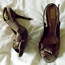 Dolcis, Brown satin, peepToes. 1/2'' plat. 4.5'' heel. Size 5.  BNWB