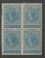 Canada 1864 RARE $3 Revenue Block of 4 Inc Minor Varieties UMM MNH
