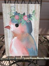 Pink & Blue Bird with Floral Wreath Tabletop Wall Art Print Farmhouse Shiplap