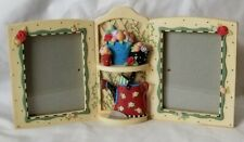 Mary Engelbreit Garden Picture Frame Double Dual Heavy Resin Flower Pots As Is