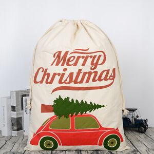 Santa Sack Large Cotton Christmas With Volkswagon VW Xmas Stocking Storage Bag