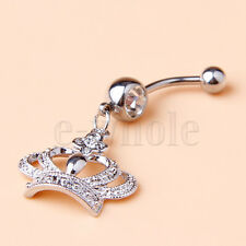 Clear Gem Crown Belly Button Navel Banana Barbell Ring Body Piercing Jewelry YG