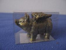 Glücksschwein mit Flügeln, Keramik, Farbe: gold, glänzend, ca. 8 x 6 cm