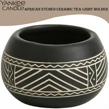 YANKEE CANDLE African Etched Ceramic Tea Light Traditional Holder Matt Black New