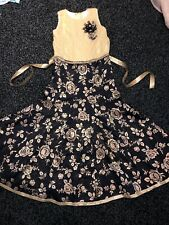 Girls Long Maxi Dress Indian Party Wedding Wear Navy Blue Gold Size 8-9 Years