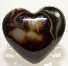 """3.1"""" Banded Agate Puffy Heart Black Brown White Natural Mineral Stone - India"""