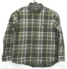 Eddie Bauer Men XL Long Sleeve Button Up Plaid Flannel Casual Shirt Grey Yellow