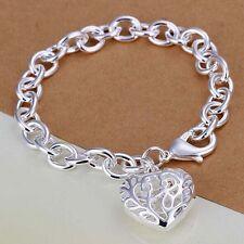 Women 925 Silver Big Charm Hollow out heart peach heart pendant Chain Bracelet