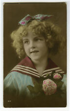 1910s Child Children Naval SAILOR SUIT GIRL hand tinted British photo postcard