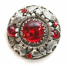 """Vintage Red & Silver Tone Round 1.75"""" Brooch / Pin Flowers & Leaves Silver Ox"""