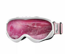 OutdoorMaster Kids Ski Goggles - Helmet Compatible Goggles (White/Pink)