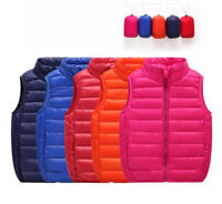 Kids Toddler Boys Girls Stand Collar Cotton Down Vests Jackets Puffer Waistcoat