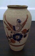 "Vtg Mexican Pottery Vase Tonala Netzi Sandstone Handpainted Bird Bird Flowers 9"""