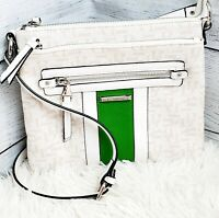 Dana Buchman Women's White Green Logo All Over Gracie Shoulder Crossbody Bag EUC