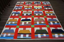 Colorful Handmade Quilt House Cabin Blocks 70 x 88 Full Queen MultiColor