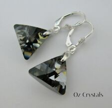 Silver Night Triangle Earring's made with Swarovski & Solid Sterling Silver