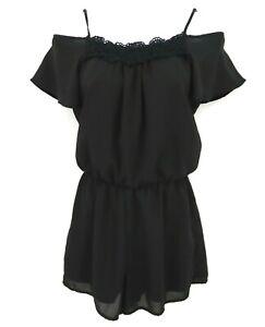 Decree Romper Juniors Size XS Black Cold Shoulder Polyester Very Feminine NICE!