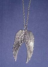 "GUARDIAN ANGEL -24"" double silvery angel wing necklace"