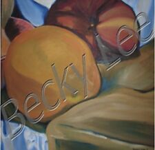 Still Life with Apple and Orange Oil Painting Print on Canvas