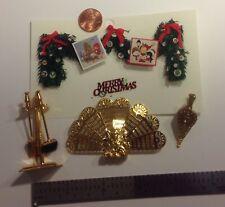 1:12 Scale Miniature Fireplace Tools, Bellows, Screen, Christmas Card Garland