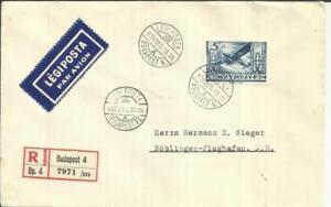 Hungary Sc#C44-HI VALUE(single frank) BUDAPEST 1936/DEC/19 Registered(label