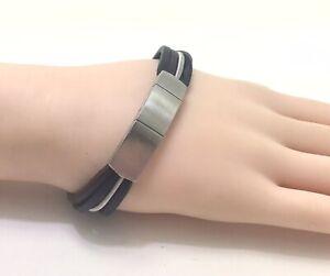 "Fossil Men's Black Brown Wire Multi Strand Bracelet,extender, 7.5""/19cm, RRP £45"