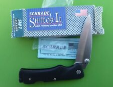 "Schrade USA made SW7FE ""Switch-It"" Lockback Folding Knife with Rotating Clip."
