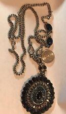 ART DECO Necklace LEE ANGEL Black Blue Stones Rhinestones Vintage