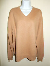 MEN'S CHARTER CLUB 100%CASHMERE MEDIUM SAND BROWN V-NECK LONG SLEEVE SWEATER M/L