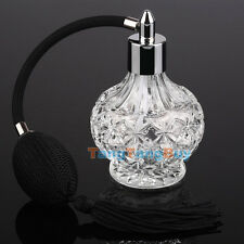 80ml Vintage Clear Crystal Perfume Bottle Long Black Bulb Tassel Spray Atomizer
