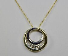 14k White Gold And Yellow Gold White Round Diamond 3 Stone Pendant With Chain