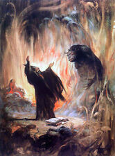 "FRANK FRAZETTA Fantasy Art Prints Canvas Textured Finish ""Sorcerer"" 3.1"