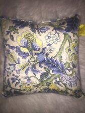 Waverly Imperial Dress Garden Path Throw Pillow Blue Yellow Square Floral Euc!
