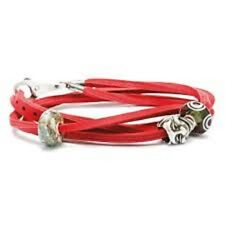 Trollbeads Double Leather Bracelet Red Size 17.7