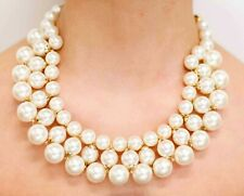 Pearl Statement Beaded Multi Strand Bib Necklace - 3 Rows - NEW