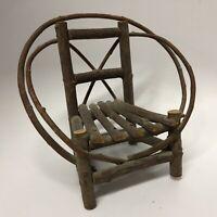 Small Miniature Wood Twig Chair Doll Bear Display 7x6x6 Primitive Rustic Antique