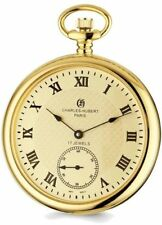 Charles Hubert IP-plated Stainless Steel Open Face Gold-Tone Dial Pocket Watch