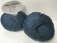 5 pelotes  cachemire et mérinos couleur bleu 314 - FABRIQUE EN FRANCE