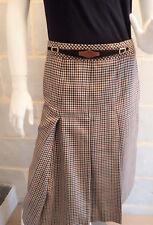 Jupe Vintage Pied de Poule coupe trapèze à plis Fait Main style cavalière