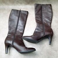 "Banana Republic Womens 499666 Sz 8 M Brown Leather Knee High 3"" Heeled Boots"