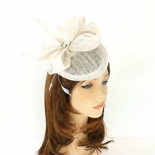 New Church Derby Cocktail Wedding Sinamay Fascinator Hat w Headband FS-12 White